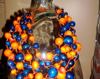 Handmade, bold -Orange and company -bead,statement necklace