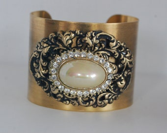 Victorian Style Brass Cuff Bracelet – Ab Crystal Rhinestones, Filigrees, Vintage Jewelry One of a Kind
