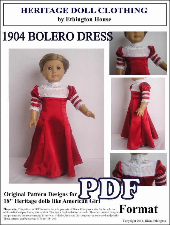 1904 Bolero Dress Pattern for American Girl Doll - PDF INSTANT DOWNLOAD