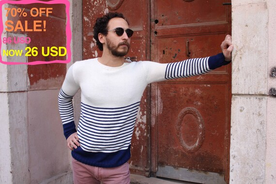 70% OFF! Striped Sweater for Men, Handmade: Marinero, Spring Collection