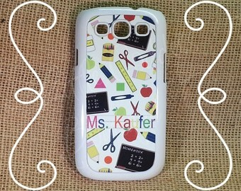 Samsung Galaxy s3, s4, s5 Note, or Note 2, Note 3 Personalized Teacher School Monogram