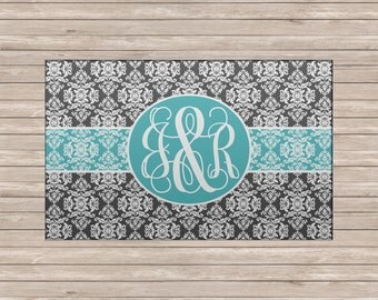 Custom Personalized Monogrammed Soft, Plush Area Rug, Multiple Sizes - Damask Charcoal  or ANY Color(s)