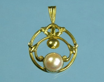 Cultured Pearl Art Nouveau Pendant (No. 607)