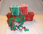 Chinese Food Take Out Containers Filled with Hershey Kisses & Peppermint  Red Plastic Canvas With Christmas Yarn