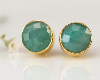 Raw Emerald Stud Earrings - May Birthstone Studs - Gemstone Studs - Round Studs - Gold Stud Earrings - Post Earrings