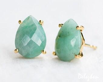 Raw Emerald Stud Earrings - May Birthstone Post Earrings - Gold Stud Gemstone Earrings - Tear drop Stud - Prong Set studs