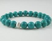 Turquoise Bracelet Blue Green Magnesite Stones Crown Chakra Jewelry Bohemian  Handmade Stretch Bracelet Yoga Mala Sterling Silver Bead Aries