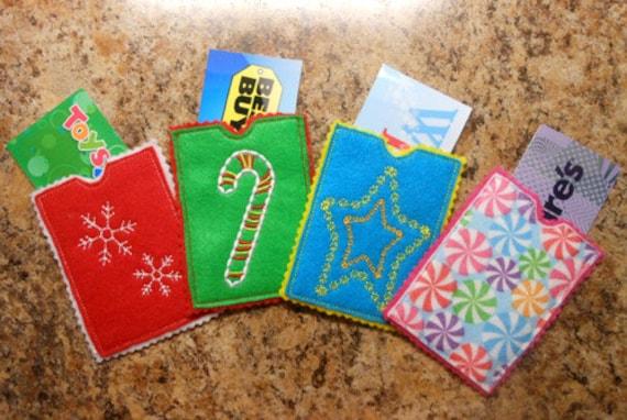 Items similar to In The Hoop Christmas Felt Gift Card ...