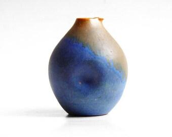 Architectural German Blue/Brown Vase -  Elisabeth Grosser for Bad Zwischenahn 80s 90s
