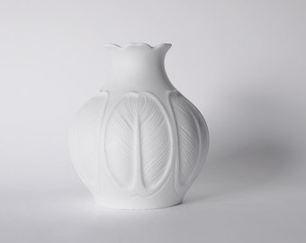 Mid Century White German Vase  Flower Motif -  Hutschenreuther