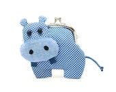 Little romantic blue hippo clutch purse