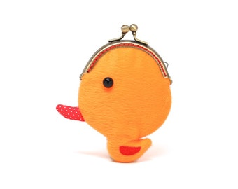 Tiny orange duck coin pouch