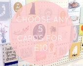 MIX and MATCH any 5 greeting cards multi buy pack card set deal