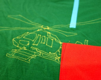 60% off clearance sale: HELICOPTER embroidered tee shirt with pocket in women's M