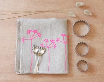 Linen Tea Towel with neon pink Elderberries