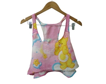 80s Carebear Sheets Upcycled DIY Crop Top with Neon Fringe Detail Racerback Wavy Hem Camisole size Medium