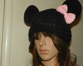Minnie Mouse Hat  with a Smaller Light Pink or Choose Colors for the  Bow only Hat is Black Sizes 0-3M-Adult
