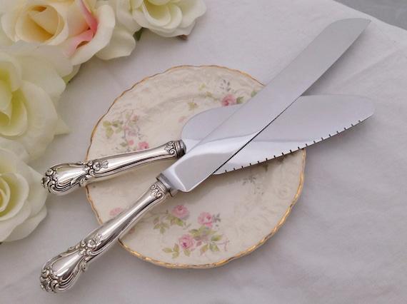 vintage sterling silver wedding cake knife server set 1940. Black Bedroom Furniture Sets. Home Design Ideas
