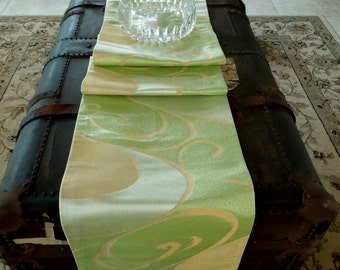 Elegant silk obi table runner - green and gold swirls