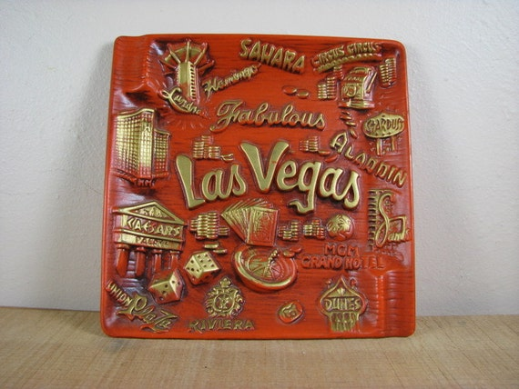 Vintage Fabulous Las Vegas Ashtray Serving Dish Souvenir Japan Ceramic
