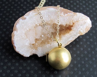raw brass ball locket gold prayer box necklace