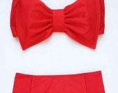 Cherry Red Lycra Swim Fabric with Padding and High Waist Bottom