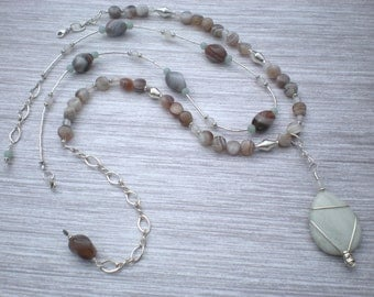 Earth and sky beaded necklace set, amazonite, Botswana agate, white agate, sterling silver, unique jewelry by Grey Girl Designs on Etsy