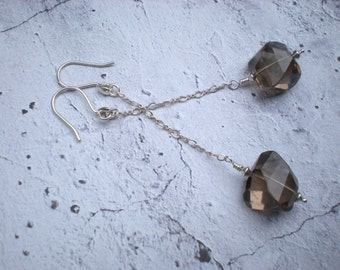 Meteorite earrings, smoky quartz, sterling silver, one of a kind, dramatic earrings, unique jewelry by Grey Girl Designs on Etsy