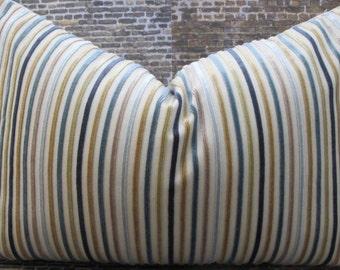 Designer Pillow Cover - Multi Velvet Stripe Aqua -