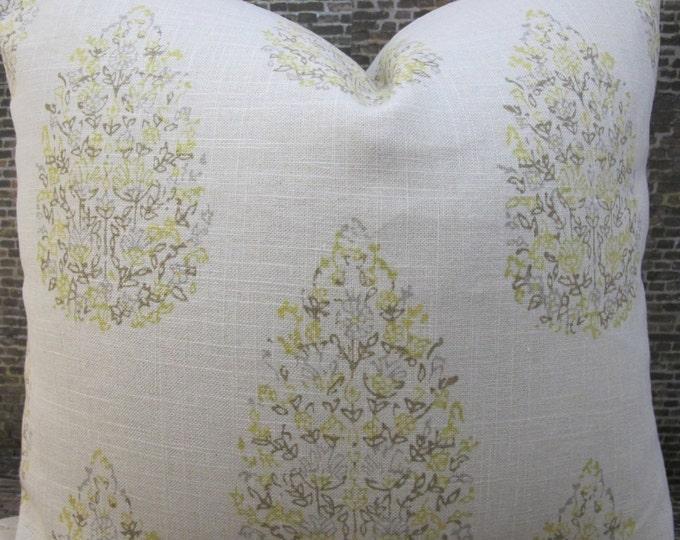Designer Pillow Cover - Lumbar, 18 x 18, 20 x 20 - JR Kedara Madder Lemongrass