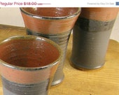 ON SALE Stoneware Pottery Wine Glass, Juice Glass, Tumbler - Black and Red Glaze