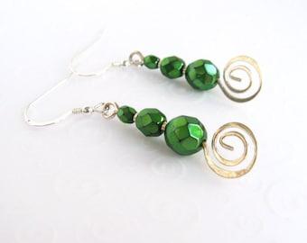 Green Bead Earrings, Beaded Swirl Earrings, Silver and Green Bead Jewelry, Sterling Silver Fashion Earrings
