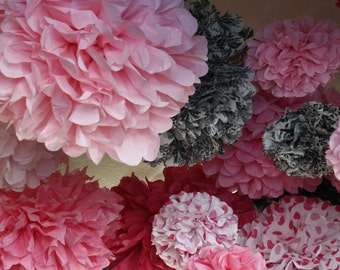 20 Tissue Paper Pom Poms - Pink Polka Dot - Damask - Pink Party Decorations - Tea party - Wedding Decorations