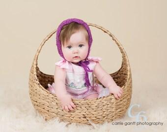 Delicate Mohair Baby Bonnet, Photo Prop, Violet Bonnet, Vintage Inspired Bonnet