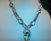 AAA Prasiolite, Green Amethyst, White Freshwater Pearls, Sterling Silver Statement Necklace, OOAK Artisan Handcrafted in America