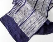FREE SHIP vintage indigo / textile panel / asian fabric