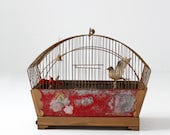 FREE SHIP antique bird cage, hand painted birdcage