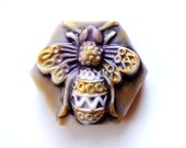 HONEY BEE FILIGREE Soap, Bumble Bee Filigree Soap in Gold and Purple - Hexagon - Geometric - Scented in Blackberry Honey - Handmade