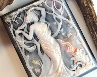 ART NOUVEAU SOAP in Fall -Goddess of Fall -Custom Colored - Scented in Harvest Moon - Colored with Shimmer, Vegetable Based