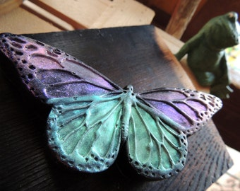 BUTTERFLY SOAP- Shimmered in Seagreen, Aqua, and Purple, Scented in Violet Patchouli