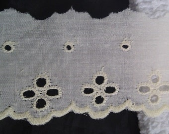 "1 yard of ivory cotton scalloped embroidered eyelet trim. 2 1/4"" w."