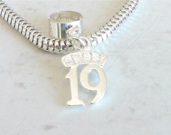 SWEET 19 Sterling Silver 19th Birthday Charm Fits All Slide On Bracelets