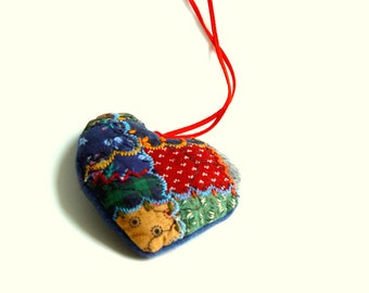 PATCHWORK HEART, Textile Ornament, crazy quilt, love friendship symbol, Red Blue, small gift