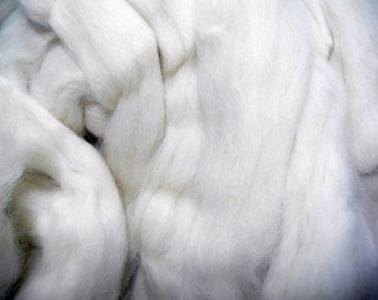 Alpaca Fiber Roving Top, Extremely Soft Natural White Superfine, 100 grams