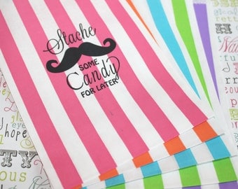 """50 Personalized Candy Bags,  """"Stache Some Candy for Later"""",  Custom Print Mustache Party Bags, Personalized Stripe Favor Bag"""