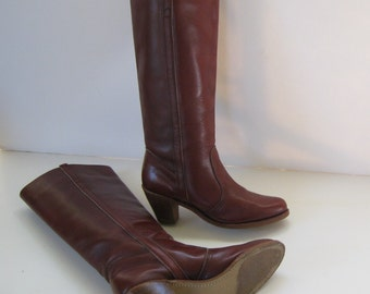 Vintage Boots - Dexter Boots - Tall Leather Boots - Cowboy Boots