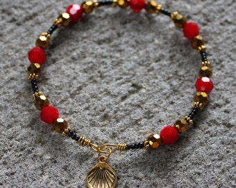 Red, Gold and Black Shell Imprint Bangle