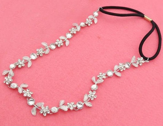 Crystal and White Flower Elastic Headband