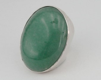 Hadar Jewelry Handcrafted Huge Sterling Silver  Aventurine Ring size 8.5 (H187)