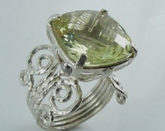 Israel Handmade Silver Lemon Quartz filigree Ring size 7 (I r517)